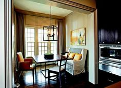 Dramatic Window Treatments | Traditional Home/ Wonderful dining nook.