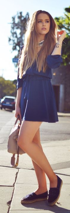 Blue Belted Wrap Mini Dress                                                                             Source