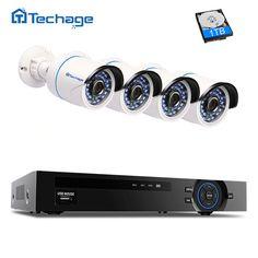 best price techage 4ch 1080p poe nvr kit security camera cctv system p2p ir night vision 4pcs 2 0mp #poe #ip #camera