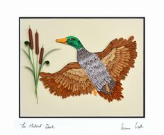 The Mallard Duck by TheBeautyofQuilling on Etsy Mallard, Masculine Cards, Paper Quilling, Rooster, Projects To Try, Wildlife, Creatures, Birds, Artwork