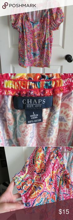 Patterned Chaps Blouse The colors are so beautiful and summery!  I have a matching Skirt available.  This is in excellent condition. It's been barely worn!  Make an offer? Bundle to save!  I'm heading to college in the fall so every purchase helps me out! Have a wonderful day! Chaps Tops Blouses