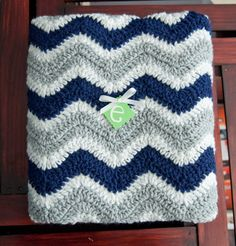 Navy Gray and White Chevron Striped Baby Afghan by ErinLynnDesigns, $40.00