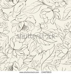 Seamless floral pattern with Peony. Vector illustration.