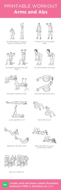 Arms and Abs: my visual workout created at WorkoutLabs.com • Click through to customize and download as a FREE PDF! #customworkout