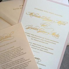 Alice Louise Press combined gold foil letterpress with shades of blush for this beauty. Simply elegant. Customize yours with Paper Passionista.