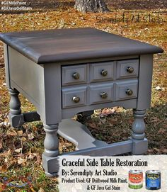 Serendipity Art Studio, https://www.facebook.com/serendipityartstudio?fref=ts, used GF Driftwood Milk Paint, Java Gel Stain and GF's water based High Performance Top Coat on this side table. Looks great! We'd love to see your projects made with General Finishes products! Tag us with @GeneralFinishes and make sure to let us know which products you used! #generalfinishes #gfmilkpaint #gftopcoat #javagel