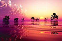 茜色に染まる海と大空