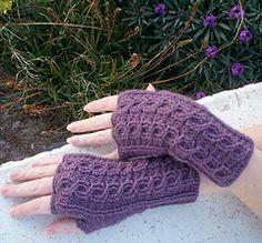 Ravelry: Crochet Cabled Fingerless Gloves pattern by Jennifer Reeve - Craft Kitten Designs