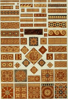 Historical pattern from Patterns of Maw and Co.'s encaustic tile, geometrical mosaic and plain tile pavements, and majolica and enamelled wall tiles, white glazed tiles, etc. :‡bfor entrance halls, corridors, passages, conservatories, churches, cemetery chapels, porches, gangways, foot-paces, porticos, verandahs, balconies, dairies, hearths, fireplace linings, exterior and interior wall panels, inscriptions, street labels. Download here: https://archive.org/stream/patternsofmawcos00mawc