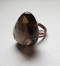 Natural Smokey Quartz Gemstone Adjustable ring by GypsyDreamerCafe, $12.75