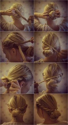 twisted rope around a bun. easy, fancy, updo