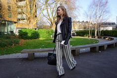 Bell Sleeves and Striped Palazzo Pants Palazzo Pants, Striped Pants, Wide Leg Pants, Bell Sleeves, London, Style, Fashion, Striped Tights, Moda