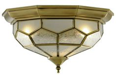 Antique Brass and Glass Ceiling Light Hexagonal Shape Suits Low Ceiling Rooms Low Ceiling Lighting, Glass Ceiling Lights, Semi Flush Lighting, Porch Lighting, Ceiling Pendant, Led Ceiling, Sand Glass, Glass Furniture, Insert