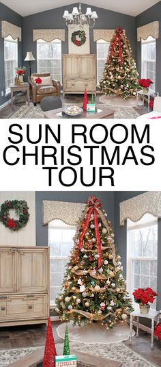 SUN ROOM CHRISTMAS TOUR. Love the burlap on the Christmas tree and the wreath hanger. Simple touches yet gorgeous!
