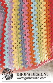 "Rainbows End - Crochet DROPS blanket with dc-groups in ""Paris"". - Free pattern by DROPS Design Diy Crochet And Knitting, Crochet Crafts, Crochet Stitches, Crochet Projects, Free Crochet, Crochet Patterns, Afghan Crochet, Granny Stripes, Granny Stripe Blanket"