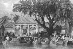 CHINA-Honan-Temple-Canton-Guangzhou-Old-Antique-1842-Art-Print-Engraving