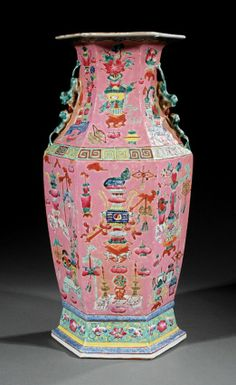 A Chinese Famille Rose Porcelain Baluster Vase, probably late c., faceted body with pairs of confronting lion-do. Large Floor Vase, Chinese Figurines, Japanese Porcelain, Asian Decor, Chinese Ceramics, Pottery Making, Antique China, Chinese Antiques, Ginger Jars