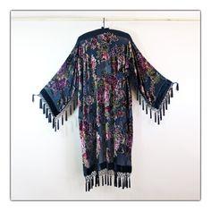 Stunning black Victorian tasseled kimono