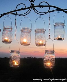 Mason Jar Lanterns, 6 Clear Party Luminaries, Light Jars, Upcycled Recycled Lighting, Ball Jars, Garden Party, Weddings by TreasureAgain
