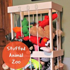 DIY Stuffed Animal Zoo (using dowels or rope even instead of bungee cords) mine and Daddy's Friday project for Jax :)