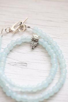 Pale Mint Glass Bead Necklace $16