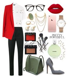 """""""office work outfit"""" by rinamay ❤ liked on Polyvore featuring Yves Saint Laurent, Lime Crime, Chanel, Topshop, ESCADA, CLUSE, Charlotte Russe, Joe Fresh, NARS Cosmetics and Global Views"""