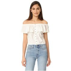 Free People Love Letter Tube Top ($59) ❤ liked on Polyvore featuring tops, ivory, off the shoulder tops, flounce tops, ivory top, smocked top and overlay top