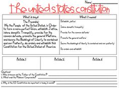 LOOK AT LATER united states constitution break down - bunch of great social studies activities on this blog!