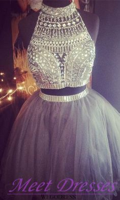 2015 2 Piece Short Silver Grey Homecoming Dresses With Beads Tulle Short Prom…