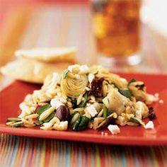 *** Mediterranean Orzo Salad with Feta Vinaigrette Recipe - made this with garlic and herb feta and less cooked orzo than the recipe suggests. Needed to add some red wine vinegar to perk up the flavors but this is a keeper - delicious!