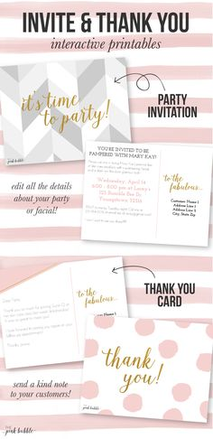 Customizable Mary Kay Party Invitation and Thank You card!! Find it only on the www.thepinkbubble.co!!