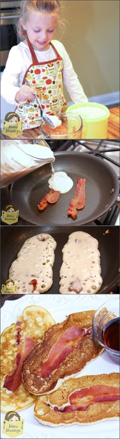 """Bacon Pancakes - Have little ones sleeping over?  Breakfast on the """"go?"""" Whatever your situation, here's something to try with your leftover bacon.  Couldn't be easier.  Just add syrup for dipping and you are all set!  <3 Breakfast On The Go, What's For Breakfast, Paleo Breakfast, Breakfast Recipes, Sleepover Food, Brunch Menu, Bacon Recipes, Cooking Recipes, Pancakes And Bacon"""
