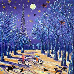 Cycling under the Moon, Paris by John Dyer