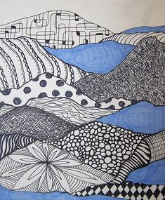 Zentangle inspiration found in these pattern landscapes (landscape plans texture) Doodles Zentangles, Zentangle Patterns, Classe D'art, Ecole Art, Tangle Art, Middle School Art, High School, Art Graphique, Art Classroom