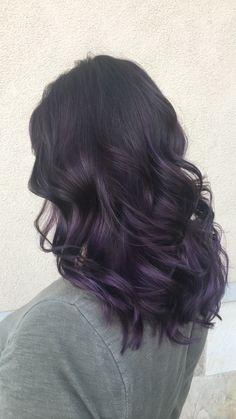 Dark Purple Hair, Hair Color Purple, Hair Dye Colors, Hair Color For Black Hair, Balayage Violet, Balayage Hair, Haircolor, Korean Hair Color, Wine Hair