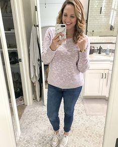 Casual Spring Style Spring style! Lightweight lavender sweater (on sale!) + cute raw hem ankle jeans... perfect Saturday afternoon style! #ShopStyle #MyShopStyle #oldnavy #rawhemjeans #weekendstyle