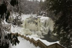 Blackwater Falls in the winter.Blackwater Falls State Park,West Virginia. I risked life and limb going down the stairs to get this one but well worth it