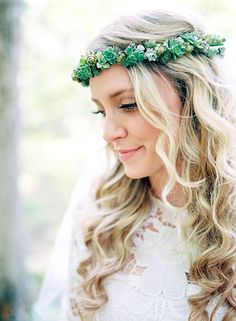 Succulent crown  Photo from Scott+++Anna collection by Nathan+Westerfield+Photography