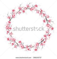 Spring cherry sakura wreath. Original watercolor pattern.