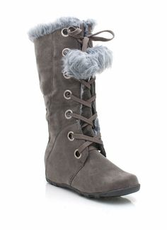hidden wedge lace-up pom-pom boot