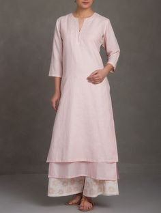Buy Pink Embroidered V Neck Cotton Linen Kurta Women Kurtas Saumya & Printed Apparel in Chanderi More Online at Jaypore.com
