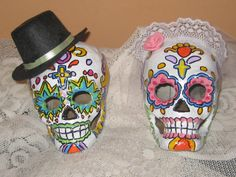 2 hand painted Paper Mache Bride and groom Sugar skulls decorated in any color scheme or pattern you want! .  Thanks for looking! Check out my…