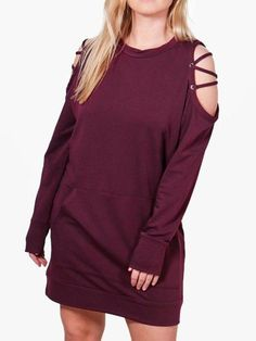 aafb57818e Plus Size Off Shoulder Loose Fleece Dress