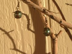Dark Moss Pearl and Leaf Earrings by RebelScumPrincess on Etsy, $12.00