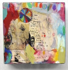 abrina Ward Harrison 16x16x3.5 mixed media acrylic, oil, ink, pencil and varnish