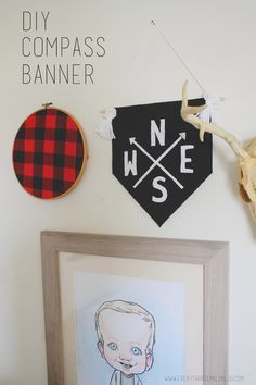 Everything Emily: DIY Compass Banner... **********flannel in embroidery hoop******************************************