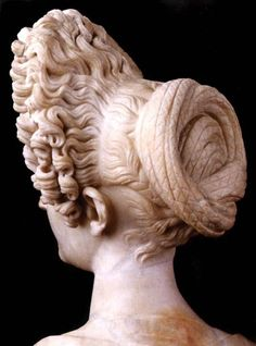 Young Flavian Woman (back of bust)    c. 90 CE.    currently located at Museo Capitolino, Rome, Italy