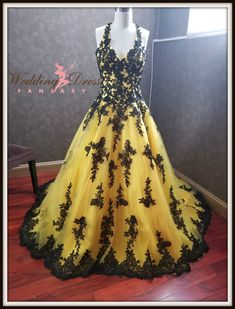 Stunning Yellow and Black Wedding Dress with Yellow Tulle and Black Lace in Halter Style Top Yellow Wedding Dress, Custom Wedding Dress, Disney Princess Dresses, Bridal Salon, I Dress, Bridal Gowns, Ball Gowns, Tulle, Black Weddings