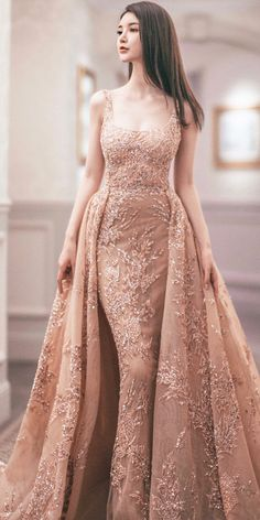 15 Colored Wedding Dresses To Make You A Stylish Bride 22 colored wedding dresses bridal wedding gowns coat with over skirt floral blush zuhair murad dress Full gallery: The weddingdresses … Vestidos Fashion, Fashion Dresses, Elegant Dresses, Pretty Dresses, Casual Dresses, Colored Wedding Dress, Engagement Dresses, Wedding Dresses, Peach Prom Dresses