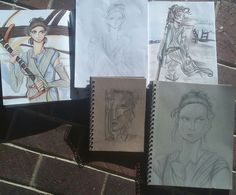 Every Rey drawing so far in honor of Star Wars day! May the Fourth be with you... By @INTPartgeek | And if anyone was wondering, I just decided to discontinue that painfully short-lived outfit of the day series. I realized there was no way I'd have the time to get that done every day of the month. Whoops. XD